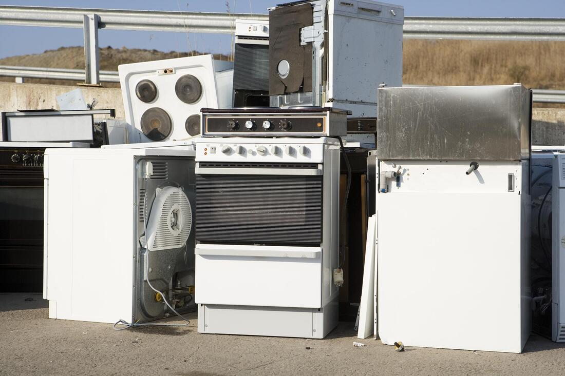 appliance left together waiting for removal